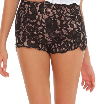 Before You Speak Lace Shorts - Black