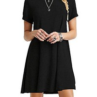 T-shirt Loose Dress Women's Casual Plain Simple T-shirt Loose Dress Soft Stretchy