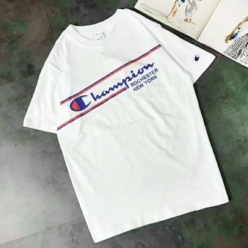 Champion Summer Fashion New Bust Letter Print Women Men Top T-Shirt White