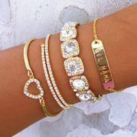 Heart Name Bracelet Stack