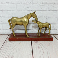 Vintage Horse and Foal Brass Figure Statue