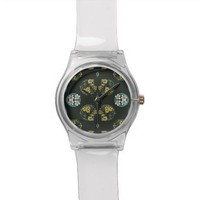 Blue and Yellow FLowers on Black Wristwatches