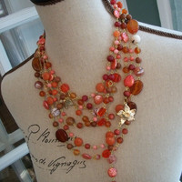 Bohemian Statement Necklace - KALLIOPE - One of a Kind Tangle Necklace with Coral Beads and Cystals