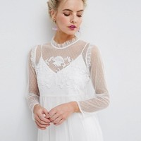 ASOS PETITE Dobby Mesh Embroidered Smock Dress at asos.com