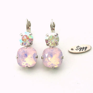 12mm Cushion Cut earrrings with 8mm round accent, 2 stone Lever back , rose water opal and crystal AB, High Sparkle bling-bling