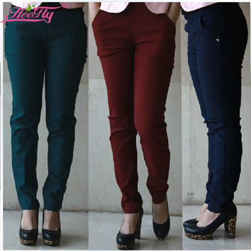 Free Shipping  3XL-6XL Plus Size Spring Pencil Pants Skinny Trousers Denim  Color Winered , Black, Blue and Green WK0036