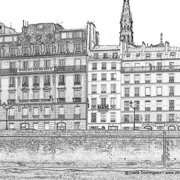 Sketch of Paris Apartments   by Seine River. Black and White Sketches, paris, france, ink drawings