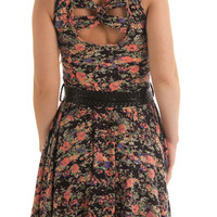 Nina-1242-Black-Coral Dainty Ditsie Floral Garden Dress w Belt