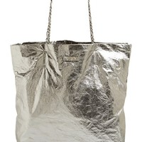 Women's Lanvin 'Paper Bag' Laminated Lambskin Tote - Metallic