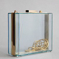 Clear Perspex Clutch Box With Removable Chain