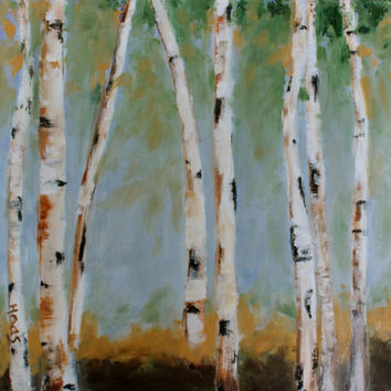 Oil Painting - Original - Honeyscolors - Landscape - Birch Trees - 12 x 12 - Texture