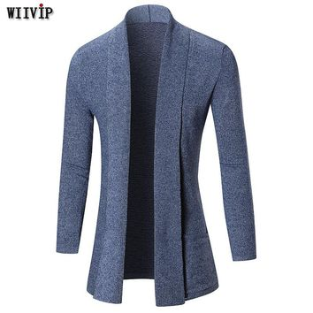 WIIVIP 2017 New Band Casual Knitted Sweater Men Long Cardigan Mens Trendy Slim Fit Sweaters Male Knitwear YW034