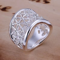 Wide Hollow Silver Ring