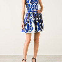 ALEXANDER MCQUEEN STRECH KNITTED FLOWER PRINTED FIT-TO-FLARE DRESS