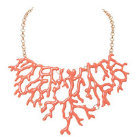 Humble Chic Women's The Mermaid Necklace - Coral Enamel Chainlink Statement Bib
