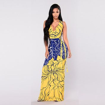 Misstyle New Printed Sleeveless Maxi Dress Yellow and Blue Bow Deep V-neck Long Dress Women Casual Bodycon Bandage Wear
