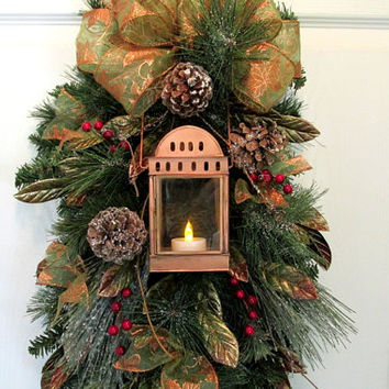 Christmas Swag Copper Lantern Copper Red Gold Christmas Wreath Lighted Door Wreath Snowy Branches