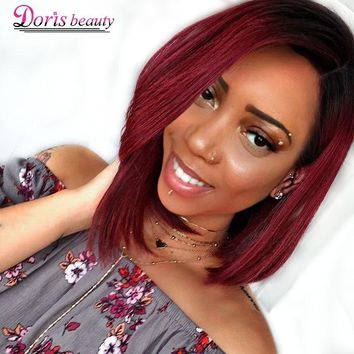 Doris beauty Ombre Red Bob Wigs for Women Synthetic Short Blonde Black Brown Straight Wig Burgundy Hair Heat Resistant Fiber