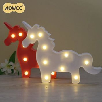 *1Pcs Unicorn Shaped Animal Light Table Lamp 3D Marquee Unicorn Sign Marquee Letter Nightlight Home Decoration Battery Operated