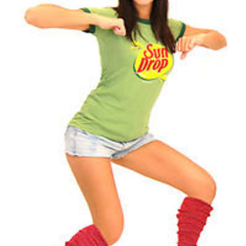 Adult Juniors Citrus Soda Pop Sun Drop Sundrop Commercial T-Shirt Costume Kit