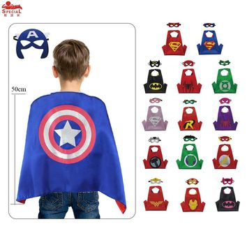 D.Q.Z Reversible Toddler Superhero Costume Satin Capes with Felt Masks Toys Character Children Mask Costume Party Hero Cosplay