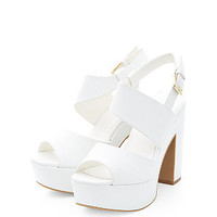 Wide Fit White Asymmetric Chunky Block Heels