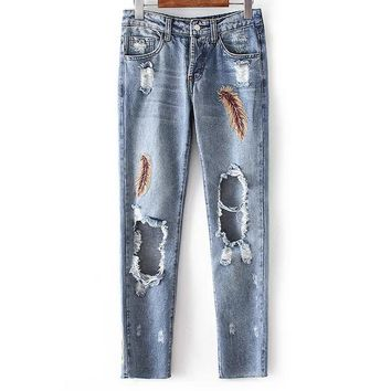 Hot sale fashion embroidery feather holse Nine points feet pants