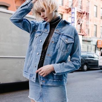 Denim Winter Simple Design Boyfriend Jacket [196477878298]
