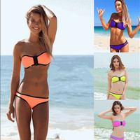 2016 Hot Summer Zipper Structured Neoprene Sexy Fashion Strapless Bikini Swim Suit Beach Bathing Suits  _ 90