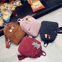 Small backpack 2017 Female Student Backpack simple all-match Mini Art corduroy bag
