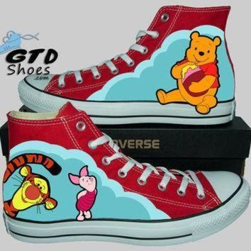 CREYON hand painted converse hi winnie the pooh tigger and piglet handpainted shoes