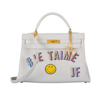 JF ONE & ONLY HERMES JE TAIME JF 32cm WHITE KELLY VINTAGE GOLD HARDWARE 2DIE!