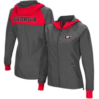 Georgia Bulldogs Colosseum Backside Hooded Full-Zip Windbreaker Jacket – Charcoal/Red