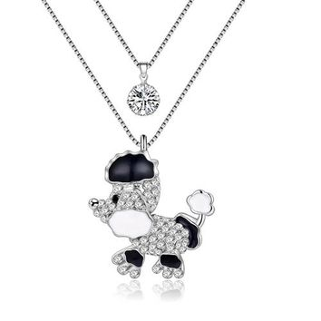 Statement Puppy Poodle Dog Necklaces Pendants Rhinestone Long Chain Collar New Fashion Animal Souvenir Jewelry For Women