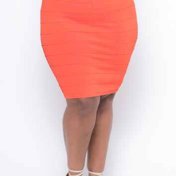 Plus Size Bandage Skirt - Orange