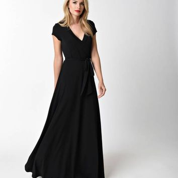 Vintage Style Black V-Neck Short Sleeve Maxi Dress