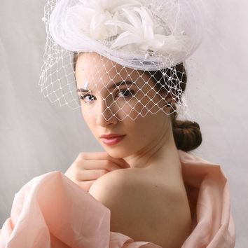 Veiled White Wedding Hat, Spring summer wedding fascinator, Haute couture wedding hat, High Fashion Style hat hand made by Irina Sardareva
