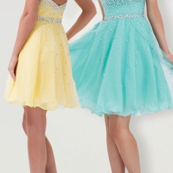 New Arrival 2017 Sexy Full Crystal Beaded Yellow Cocktail Dresses Mint Green Backless Cocktail Dress Formal Party Prom Gowns