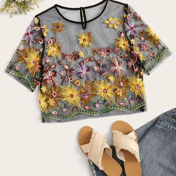 Bohemian Contrast Neck Embroidery Appliques Mesh Top