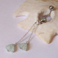 Aquamarine and Sterling Chain - Choose Length - Dainty Belly Button Ring - Belly Button Jewelry - Sterling Belly Ring - Made to Order