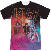 KISS Men's  Colored Smoke Sublimation T-shirt White Rockabilia
