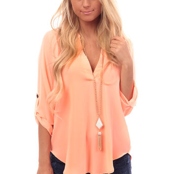 Bright Coral 3/4 Sleeve V Neck Blouse