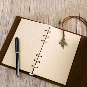 New Sketchbook Stationery Vintage Diary Notebook Writing Pockets Book Leaf Leather Cover Loose Blank Travel Journal Gift