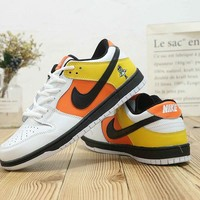 HCXX N494 Nike Zoom Dunk Low Air Cushion Comfortable Skate Shoes White Orange Yellow