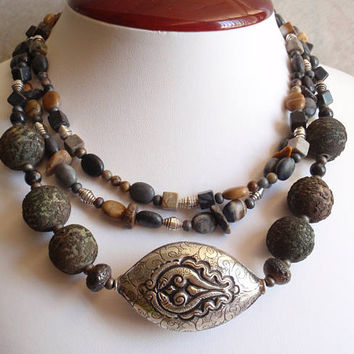Natural Stone Necklace Triple Strand Large Sterling Silver Ethnic Tribal Vintage E0002