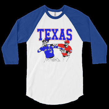 Texas Rangers Inspired Punch 3/4 Length Tshirt