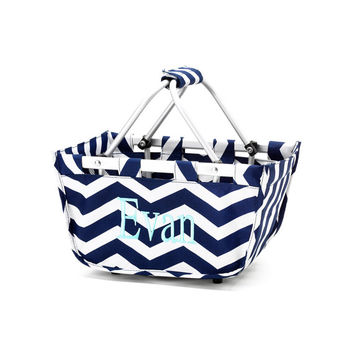 EASTER  Mini Market Tote FAST SHIP navy chevron