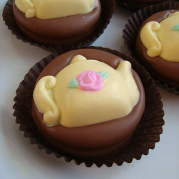 12 Milk Chocolate Dipped Cookies Yellow Teapot Pink Rose Flower Girls Tea Party Birthday Favors Princess Beauty Beast