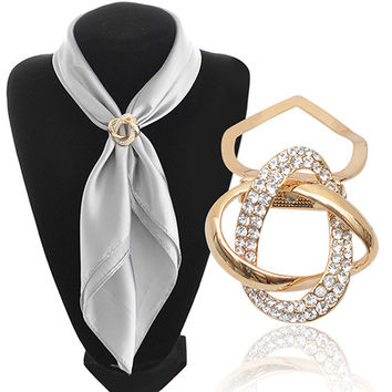 Gold-plated Crystal Silk Scarf Clip Buckle Holder