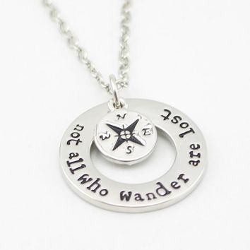 "Wanderlust handstampe Jewelry Travelers Necklace Wanderlust "" Not All Who Wander Are Lost"" Inspirational Jewelry"